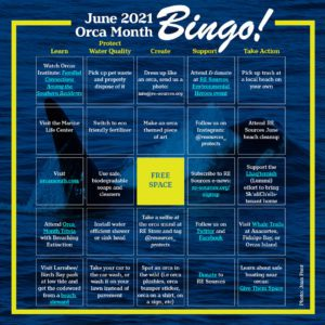 Orca Month bingo card with 5 columns and rows