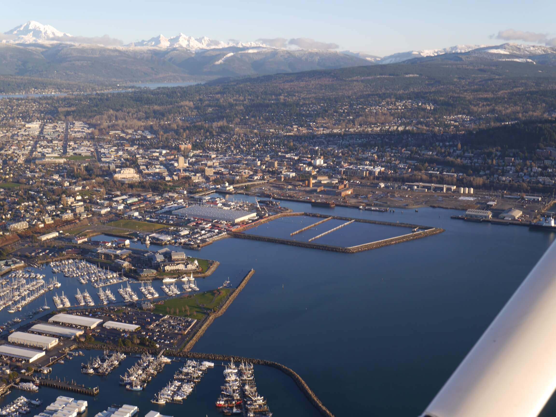 Aerial view of Bellingham Bay. Mount Baker sits in the background.